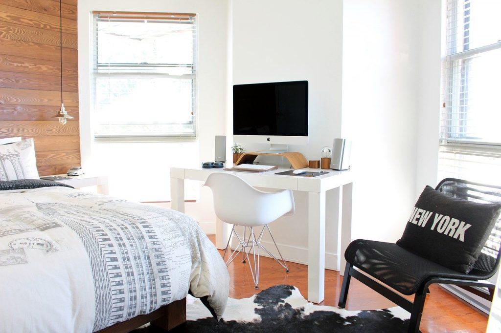 lit, chambre à coucher, chaises