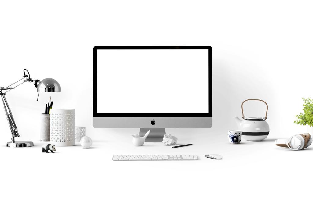 pomme, ordinateur, bureau